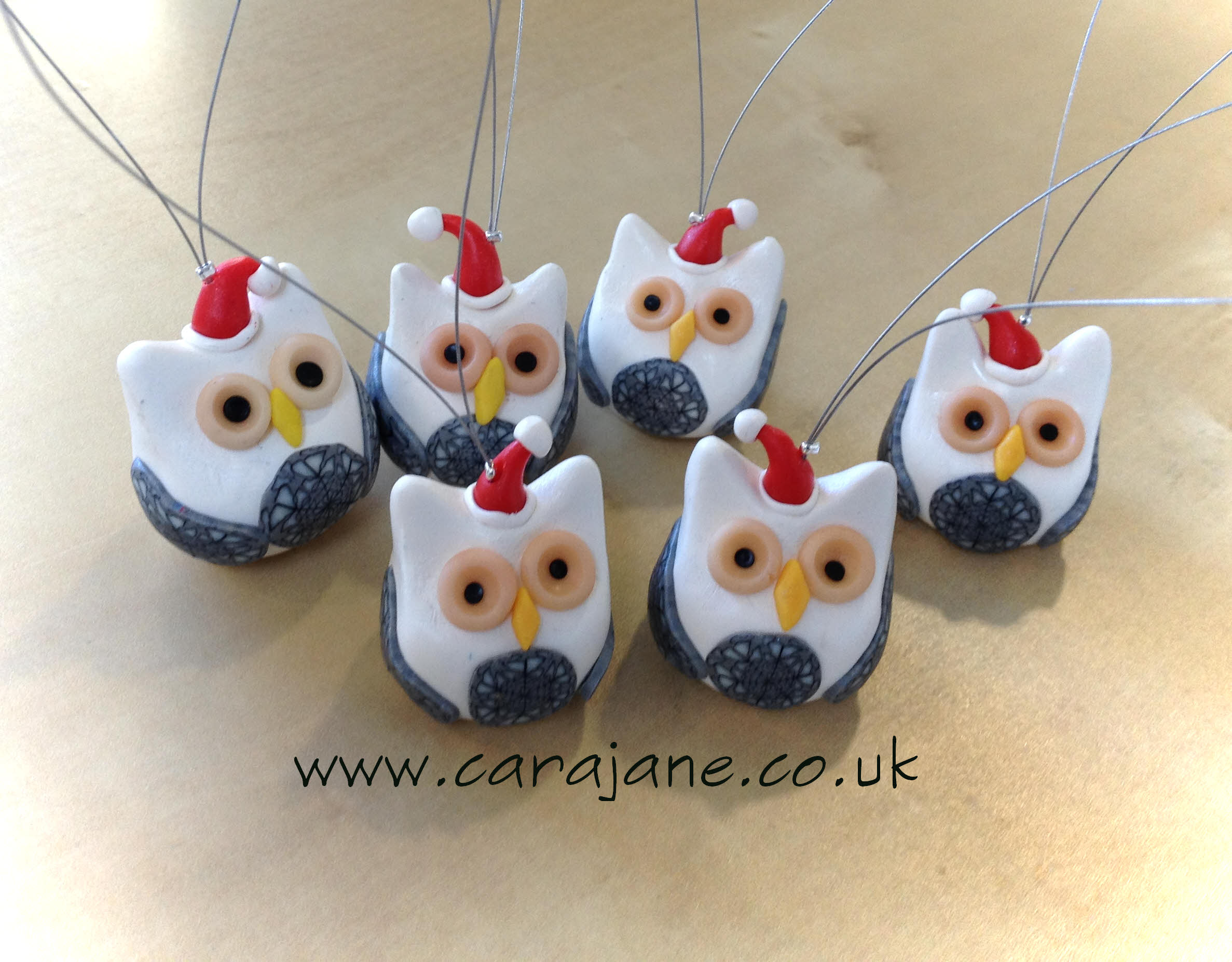 polymer clay Christmas owl ornaments