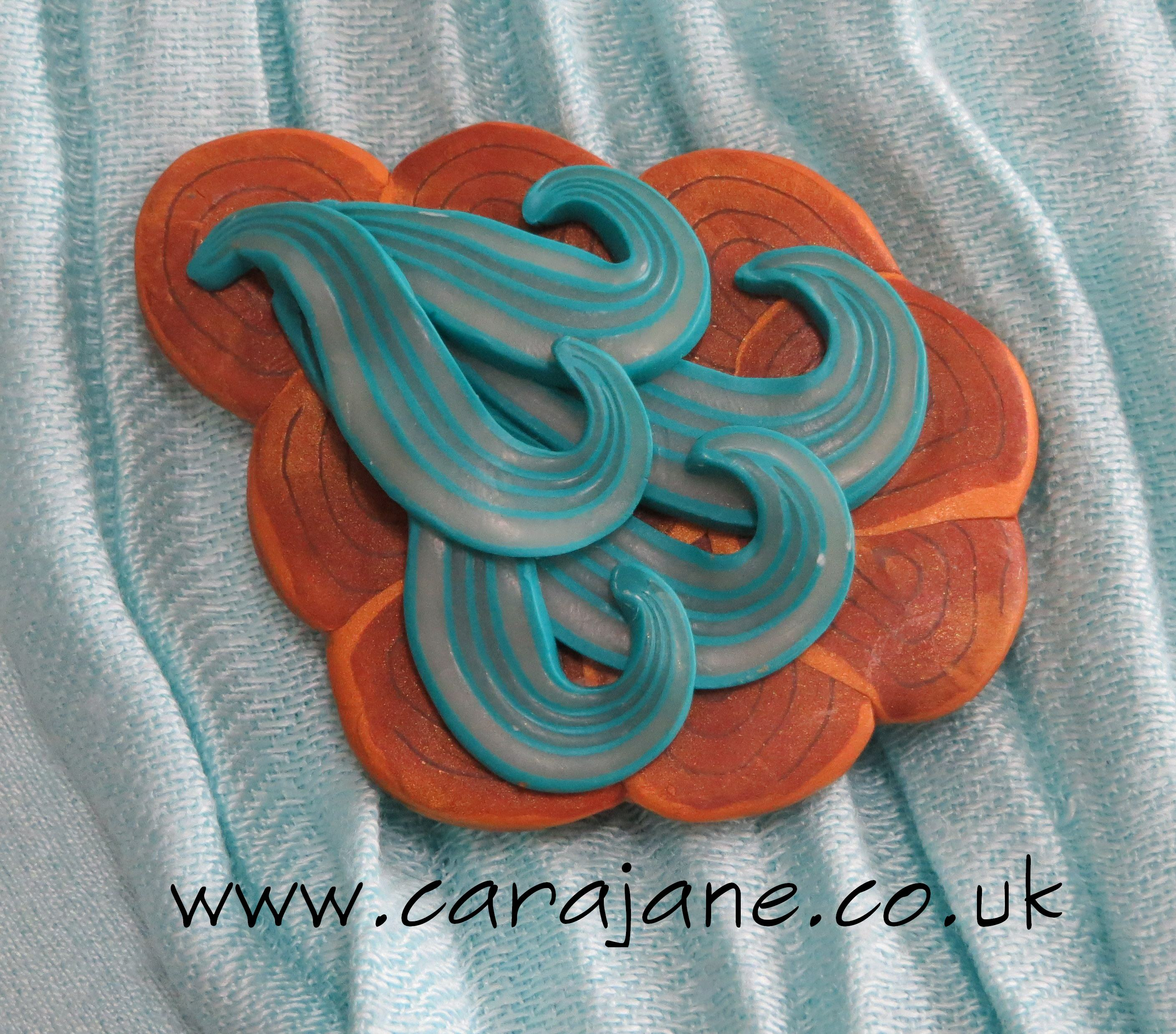 Golden Breath Polymer Brooch by Cara Jane Tutorial in From Polymer To Art Magazine