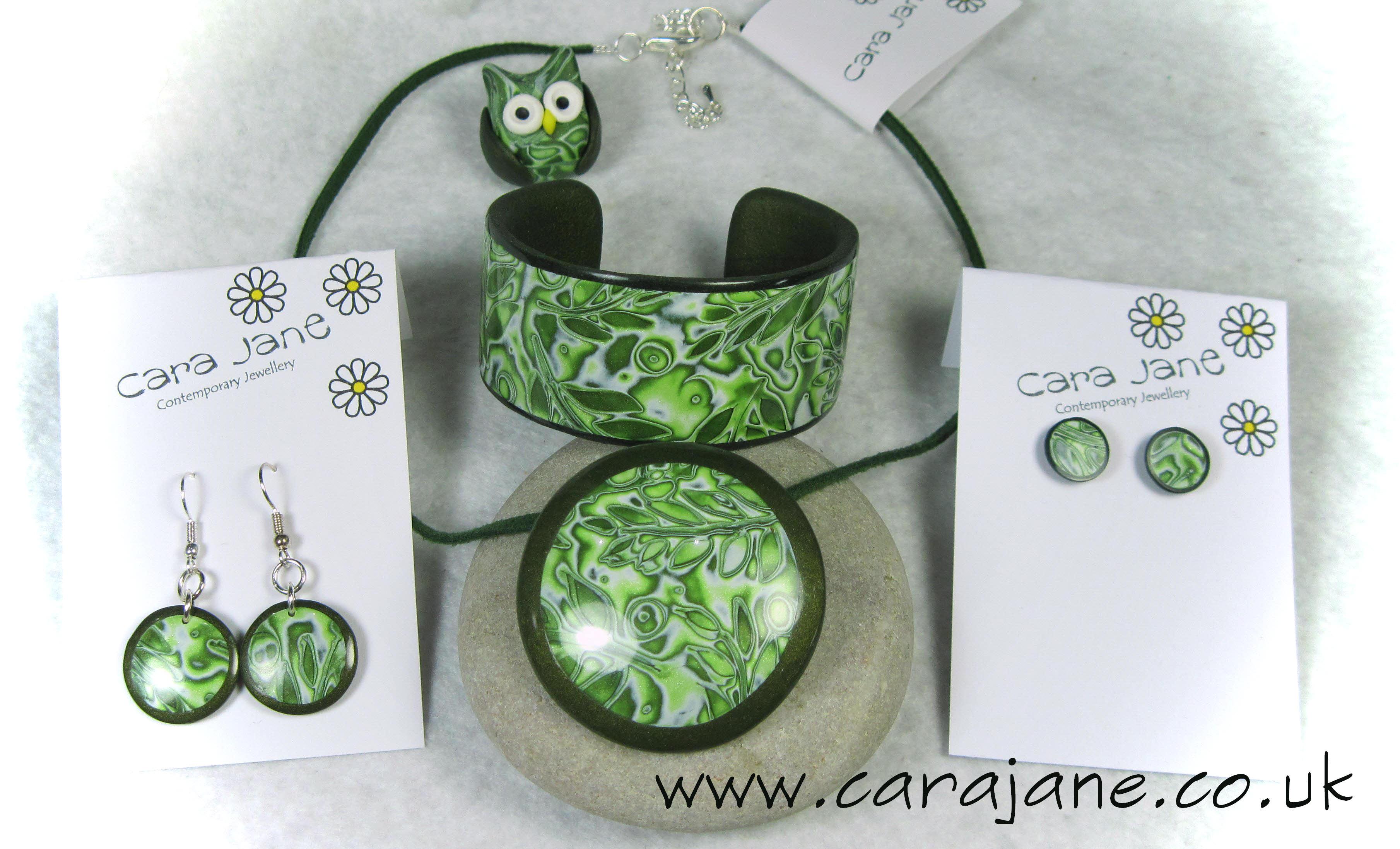 Green Mokume gane jewellery set