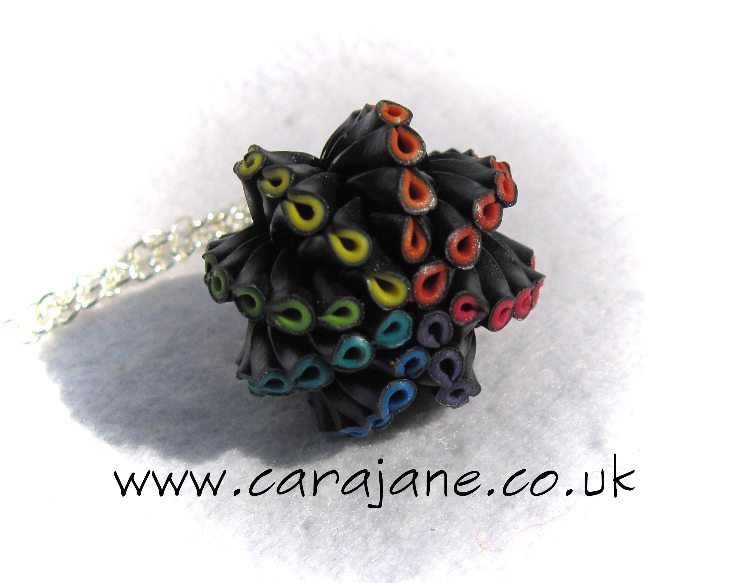 rainbow artichoke pendant