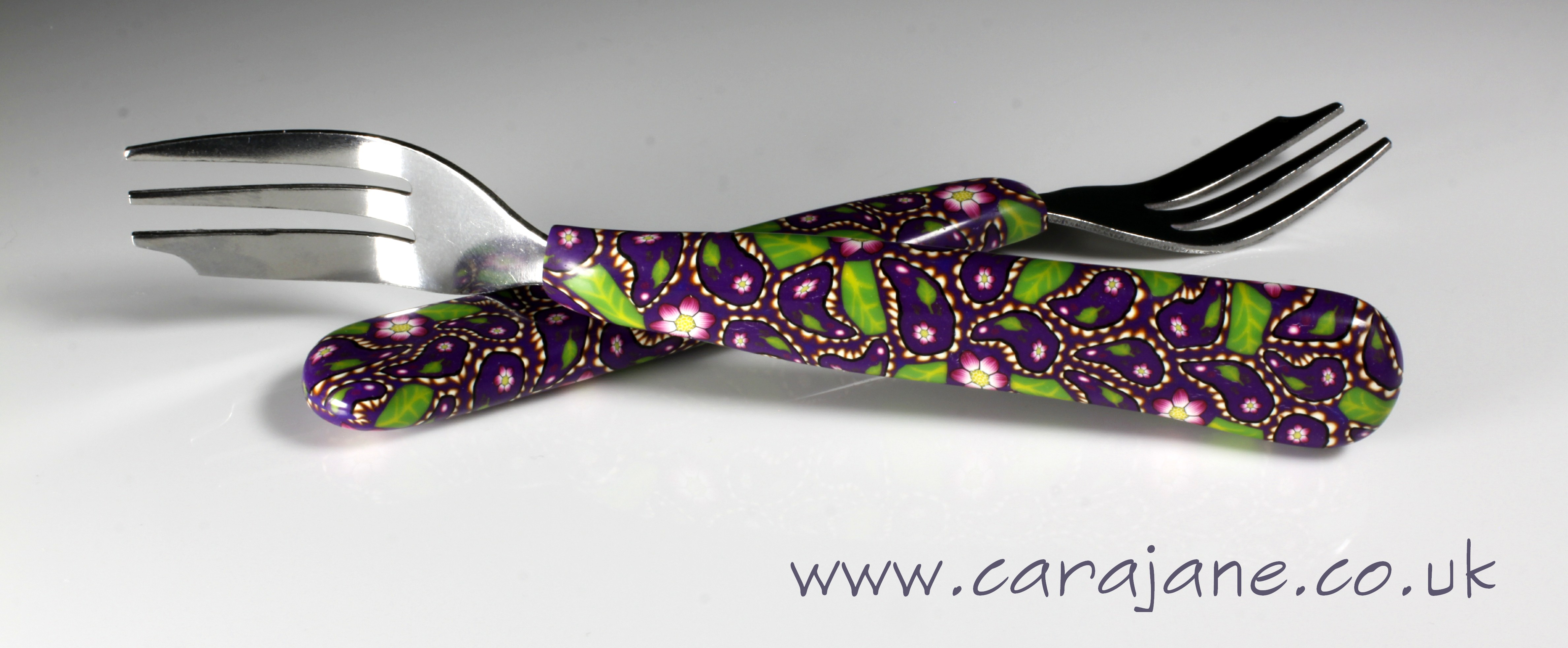 Polymer clay decorated cake forks - purple paisley
