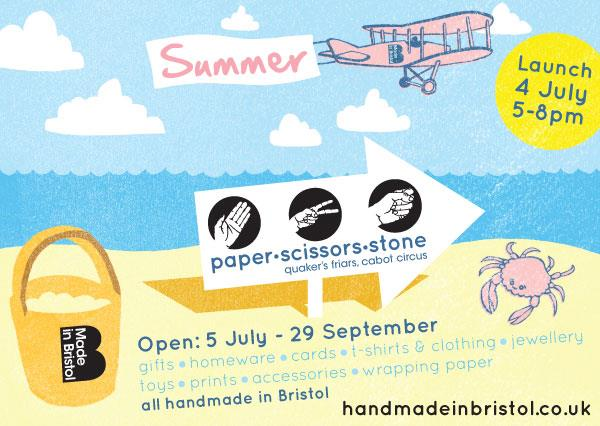 flyer with information about Paper Scissors Stone Shop in Bristol, UK