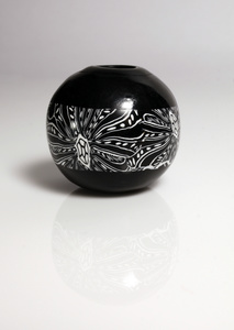 Large round black and white hollow bead made from Polymer Clay by Cara Jane Hayman