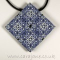 Blue and White Kaleidoscope Tile Pendant in Polymer Clay by Cara Jane Hayman