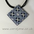 Blue and White Polymer Clay Kaleidoscope Pendant by Cara Jane