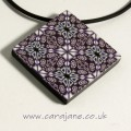 Cara Jane Purple Square Tile Kaleidoscope Pendant Polymer Clay