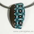 Polymer clay pendant with teal and brown pattern, polymer clay by Cara Jane