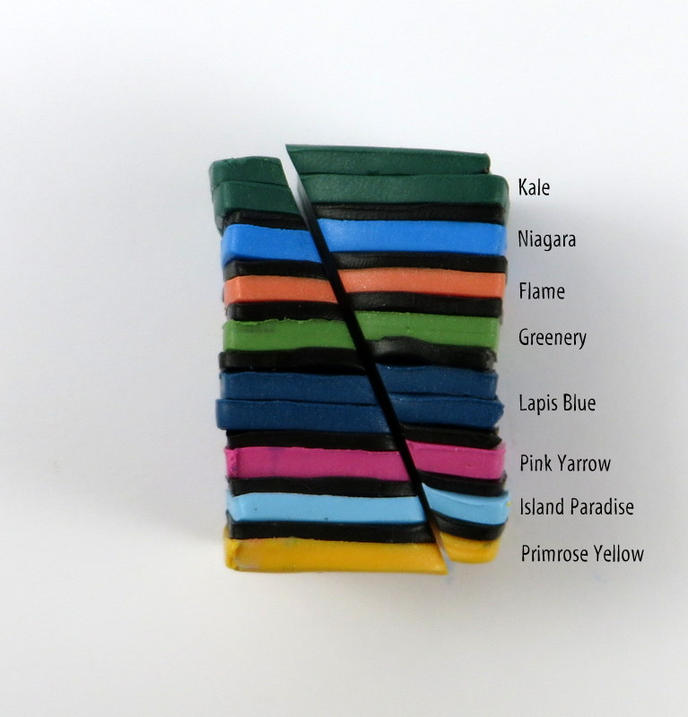Cara Jane Colour Block Feather colours with Kato Polyclay colour recipe
