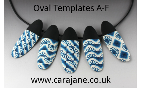 Necklace of Oval Polymer Clay shapes made by Cara Jane using her template set