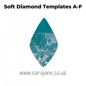 Cara Jane Soft Diamond template set A-f. Polymer clay pendant made with template