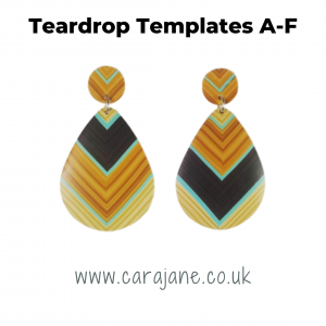 Cara Jane Teardrop Template Set A-F - polymer clay earrings made with template