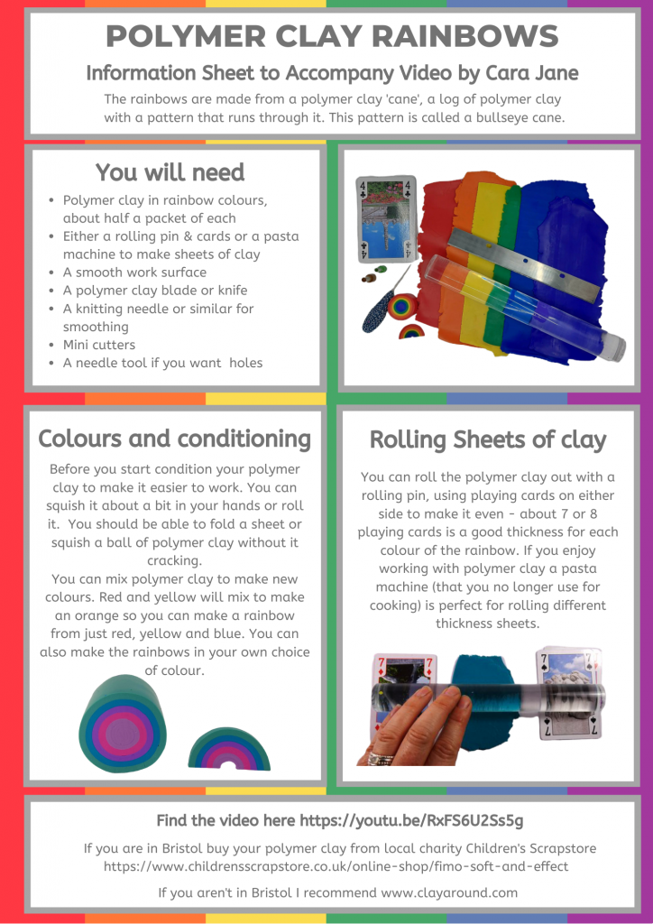 Polymer Clay Rainbows - Info sheet to accompany video page 1