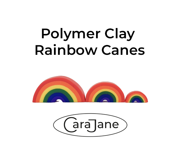 Polymer Clay Rainbow Canes - rainbows made from a bullseye cane.