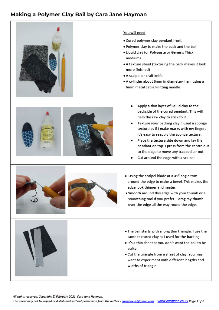 Cara Jane Polymer Clay Pendant Bail Tutorial Page 1 of 2
